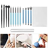 SSPECOTNR 15 PCS Polymer Clay Tool Pottery Modeling Clay Sculpting Tool Set Ball Dotting Tool Clay Roller & Sheet for Pottery Sculpture Rock Painting Art Carving Embossing Nail Art DIY Cake Decorating