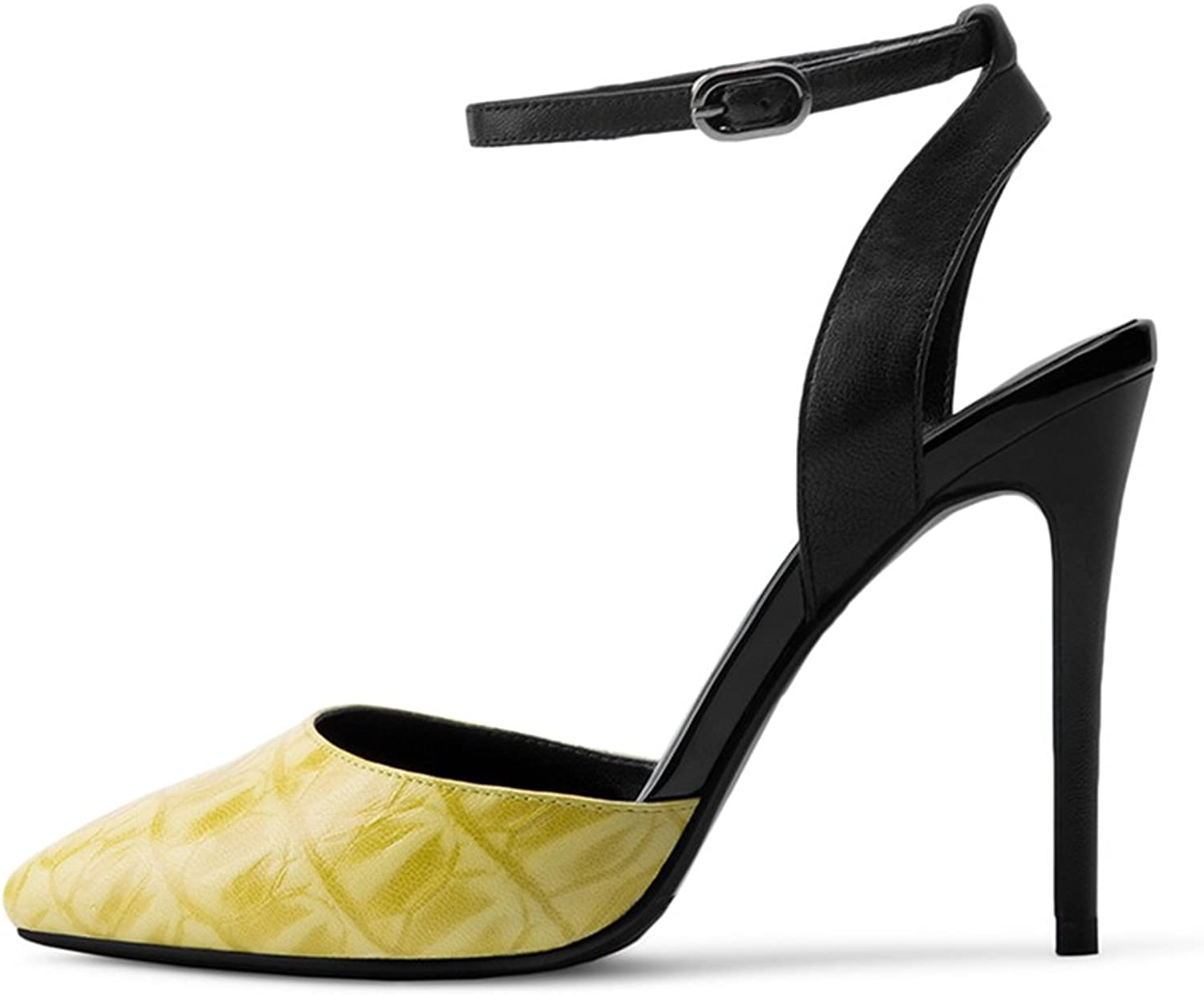 QIDI Sandals Summer High Heel Female Pointed Baotou High Heel Single shoes (color   Yellow)