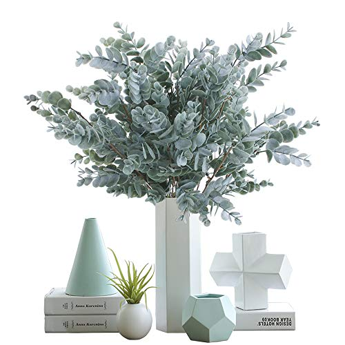 """OUTLEE Pack of 3 Artificial Eucalyptus Stem Shrub Faux Eucalyptus Leaves Spray Artificial Greenery Stems Fake Silver Dollar Branches Plants for Home Wedding Decor 17.7"""" Tall"""