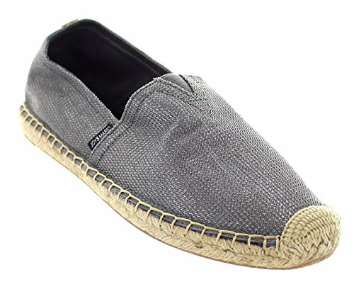 Joy & Mario Women's Cool Grey Hemp Canvas Slip-on Espadrille Shoes Flats Loafers 01048W in Size: 6-10 (6 B(M) US) (10) (8)