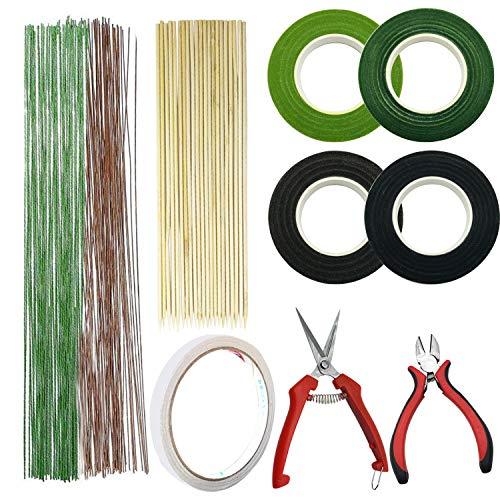 Allazone 7 Tipos Herramientas Arreglo Floral Kit, Alambre Floral Wire 22, 2 Estilo Cinta, 2 Estilo Cortador de Alambre Floral y Vara de Bambú para el Ramo de Boda DIY