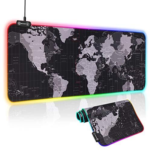 Hiveseen Tapis de Souris Gaming XL, 800 x 300 mm LED Mousepad avec 14 RGB Mode d'éclairage, Étanche Surface et Base en Caoutchouc Antidérapant pour Ordinateur, Bureau, Gamer