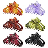 6 Pack Large Clear Black Brown Flower Plastic Octopus Hair Claw Clips Clutcher Crab Jaw Barrettes Grips Clamps Clasps Pin Buns Updos Bunheads Chignons Twist Hair Up Fancy Accessories for Women Girl