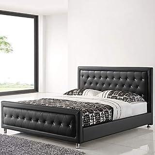 NOUVOMEUBLE Lit Adulte Design 160x200 Noir capitonné avec des Strass Samantha