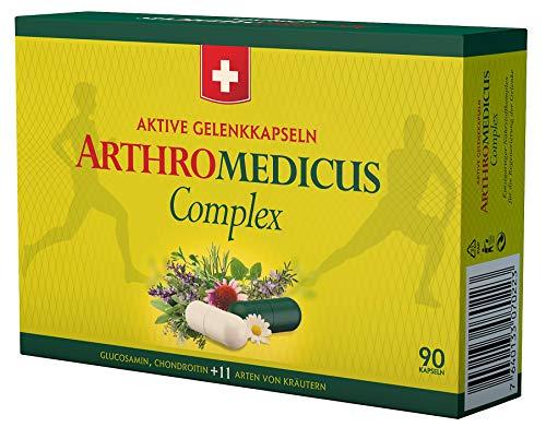 SwissMedicus Gelenkkapseln Kräuterkomplex Arthromedicus - 90 Kapseln - Gelenkkur aus 11 Kräutern, Glukosamin, Chondroitin und Gelatine, Intensive Bark entsprechend der Dosierung von 2 Monaten