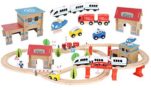 KRUZZEL Tren de Juguete de Madera Ferrocarril de Madera Pista de Coches para Niños Bucket Top Mountain con Recipiente 9362