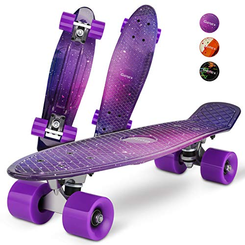 Gonex Mini Cruiser Skateboard, Complete 22 Inches Plastic Skateboard for Boys Girls Beginners Kids Teens Youth & Adults, Purple