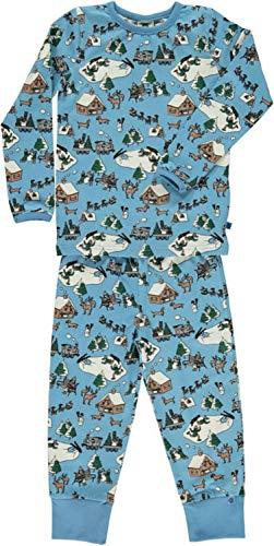 Smafolk Pyjama mit Allover Print: Landschaft hellbelau Groesse 4-5 Jahr