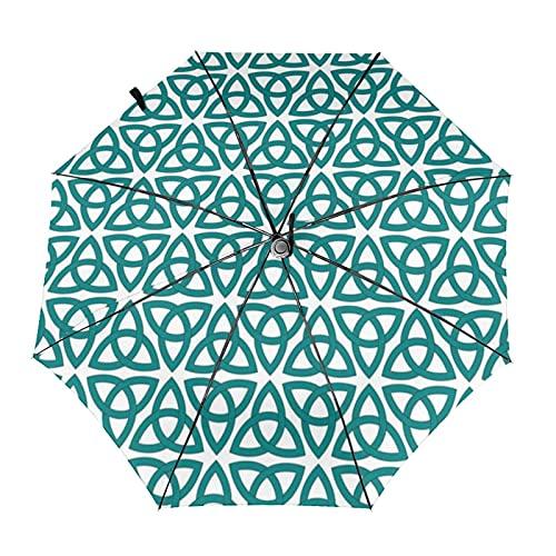 自動折りたたみ傘Tessellated_knots防風、防水、耐紫外線性があり、晴れや雨の日に適していますユニセックス。