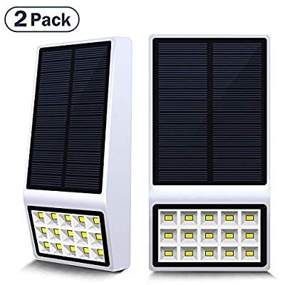 Solar Deck Lights Outdoor,Solar White Lights for Landscape Lighting with 120° Lighting Angle,Motion Sensor Auto on/Off Night Light for Garden Patio Yard Fence Wall Mount