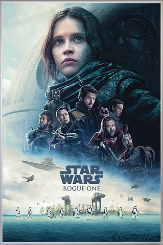 Close Up Rogue One: A Star Wars Story Poster One Sheet Motiv (93x62 cm) gerahmt in: Rahmen Silber matt