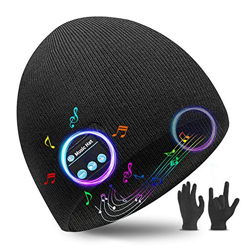 Bluetooth Beanie Christmas Birthday Gifts - Bluetooth 5.0 Wireless Headset Music Winter Beanie Hat Build in 2 HD Stereo Speakers and Mic Christmas Birthday Gifts for Men Women Dad Mom Classic Black