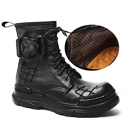 Hombre Negro con Cordones/Botas de Combate de Cuero Zapatos de Motocicleta/Botas de Moto Impermeables de Cuero Genuino Off Road Adventure Touring Motocicleta Tallas 37-46,D,43