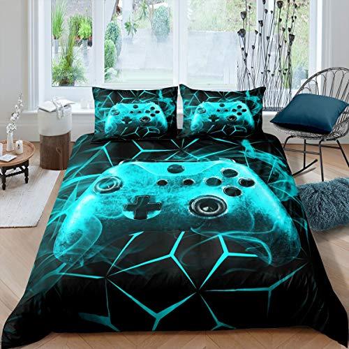 Loussiesd Juego de ropa de cama para adolescentes y videojuegos, funda de edredón de lujo, diseño de geometría ahumada, color verde azulado, con 2 fundas de almohada con cremallera Super King