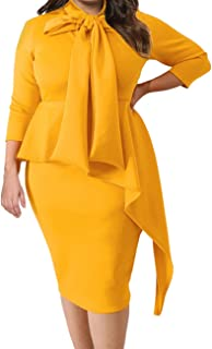 7aa10d5b55 Lalagen Women s Plus Size Long Sleeve Peplum Tie Neck Bodycon Pencil Midi  Dress