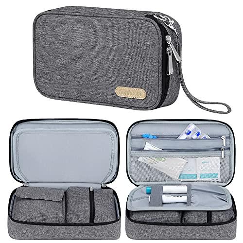 Diabetische für Reisetasche, Simboom Doppelschicht Tasche für Insulin und Spritzstift, Grau