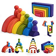 Wooden Rainbow Stacking Toy for Toddlers, Montessori Creative Geometry Color Sorting Building Blocks, Early Educational Gift Set for Kids 3 4 5 Years Old