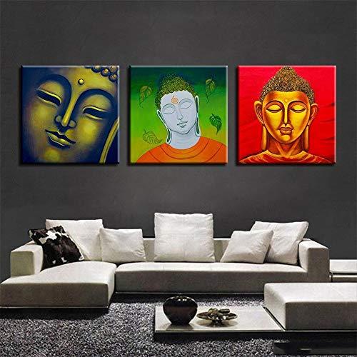 WSNDGWS Drievoudig religieus Boeddhabeeld HD decoratief schilderij inkjet kunstenaar slaapkamer slaapbank muurschildering zonder fotolijst 60x60cmx3 A5