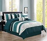 Luxlen 7 Piece Luxury Bed in Bag Comforter Set (Teal, Queen)
