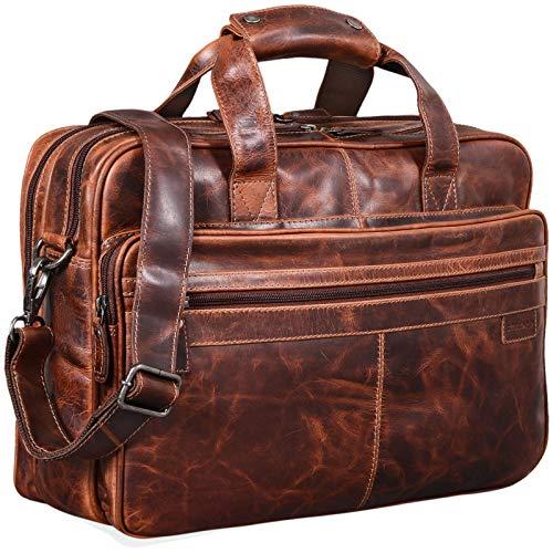 STILORD 'Atlantis' Leder Aktentasche groß Vintage Lehrertasche Arbeitstasche große Ledertasche Businesstasche zum Umhängen Trolley aufsteckbar, Farbe:Milano - braun