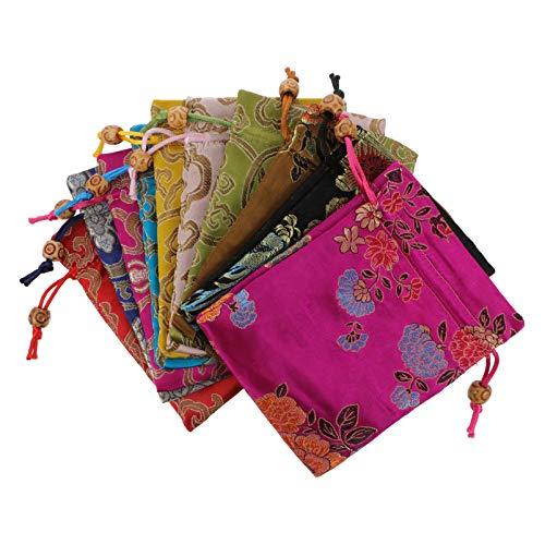 Cabilock 10Pcs Satin Geschenk Taschen Chinesischen Hochzeit Süßigkeiten Taschen Kordelzug...