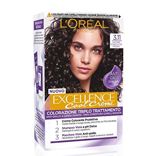 L Oréal Paris Tinta Capelli Excellence Cool Creme, Copre i Capelli Bianchi, Colore Ricco dai Toni Freddi, 3.11