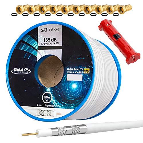 HB-Digital Set 50m Koaxial SAT Kabel 135db Weiß + 10x F-Stecker vergoldet + 1x Abisolierer | CCS Stahl Kupfer Satellit Antennenkabel 5-Fach geschirmt für DVB-S/S2 -C/C2 -T/T2 DAB+ Radio Anlagen