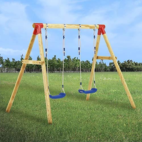 Galapara Schaukelgestell Holz-Schaukel mit Brettschaukel, Kinder Garten Outdoor Komplett Schaukelgerüst 230 x 130 x 166 cm Kiefernholz