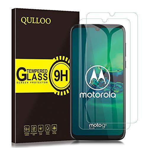 QULLOO Pellicola Protettiva per Moto G8 Plus, [2 Pezzi] 9H Durezza Full Coverage Protezione Schermo in Vetro Temperato per Motorola G8 Plus