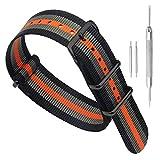 22 millimetri nero/grigio/arancio Premium deluxe stile NATO robusto nylon sportivo da polso cinturino banda orologio da uomo esotico