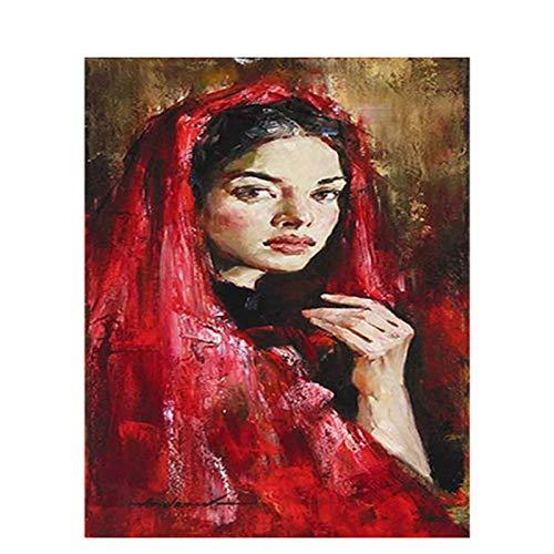 DIY Ölgemälde Nach Zahlen Kits Erwachsene/Kinder Anfänger Oil Painting Rote Turban-Frau Leinwand Ölgemälde Geschenk für Zeichnung mit Pinsel Art Hauptdekor (Ohne...