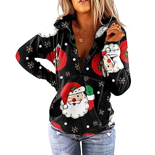 Weihnachten Kaputzenjacke Damen Pullover weinrot Damen XXL Tshirt Damen lang Oversize Shirt Damen Langarm Batik Shirt Damen musselin Bluse lässige Pullover Damen Leoparden Sweatshirt lila Pullover