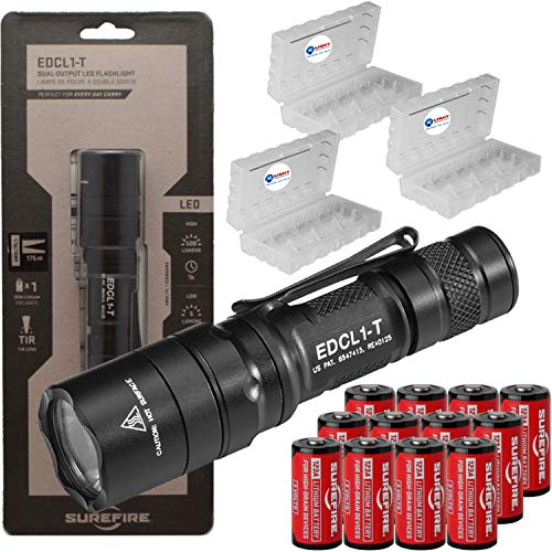 SureFire EDCL1-T 500 Lumen Tactical EDC Flashlight Bundle with 12 Extra Surefire CR123 and 3 Lightjunction Battery Cases