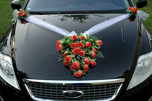 Autoschmuck Spitze STRAUß Auto Schmuck Braut Paar Rose Deko Dekoration Hochzeit Car Auto Wedding Deko PKW (Lachs)