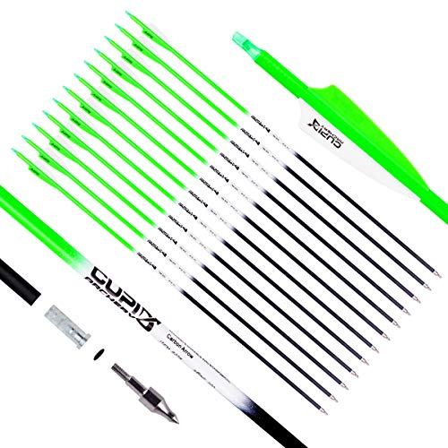 LWANO Carbon Arrow Archery 30inch Hunting Target Practice Arrows for Compound & Recurve Bow Spine 500 with Removable Tips (Pack of 12)(Green)