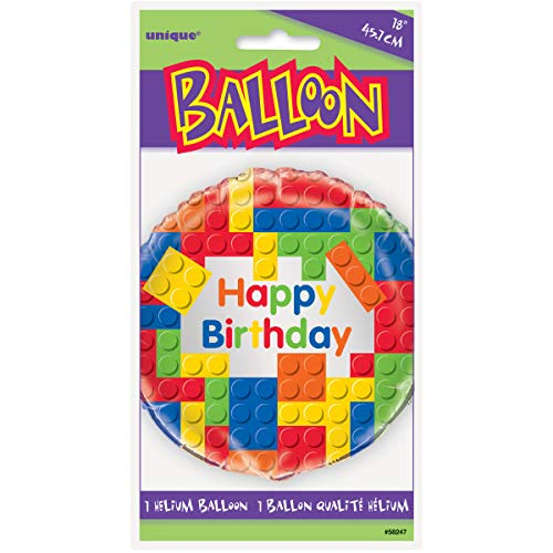 "Unique Party 58247 - 18"" Foil Building Blocks Birthday Balloon"