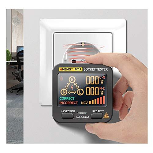Testeur de Prise Electrique, KKmoon® Détecteur de Fuite électrique écran LCD Fil de Terre Ligne Zéro Fil en Direct Phase RCD NCV Testeur électrique Circuit Détecteur de Polarité