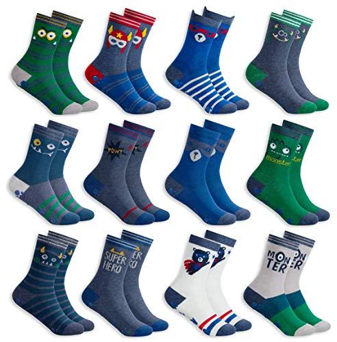 MC.TAM® Jungen Mädchen Bunte Socken Strümpfe 12 Paar 90% Baumwolle Oeko Tex® Standard 100, 23-26, 12 Paar FV003 Stoppersocken
