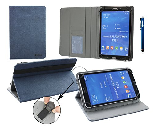 Emartbuy Bluechip Travelline T8-E3 8 Zoll Tablet PC Universal ( 7 - 8 Zoll ) Dark Blau PU Leder Multi Angle Exekutiv Folio Mappen Kasten Abdeckung mit Kartensteckplätze + Blau Eingabestift