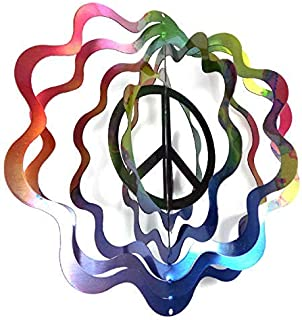 WorldaWhirl Whirligig 3D Wind Spinner Hand Painted Stainless Steel Twister Peace Sign (6.5