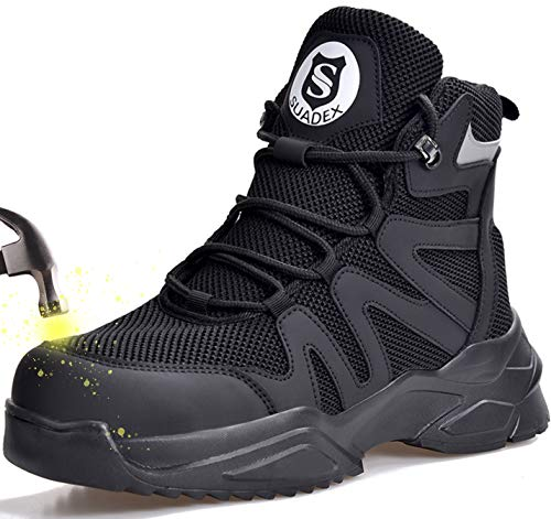 SUADEX Steel Toe Boots for Men Women Work Boots Indestructible Safety Boots Breathable Lightweight Composite Toe Boots for Construction