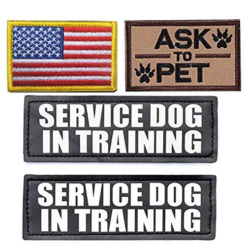 Aufnäher für Hundeweste/Hundegeschirr, bestickt mit USA-Flagge, mit Haken und Schlaufe braun