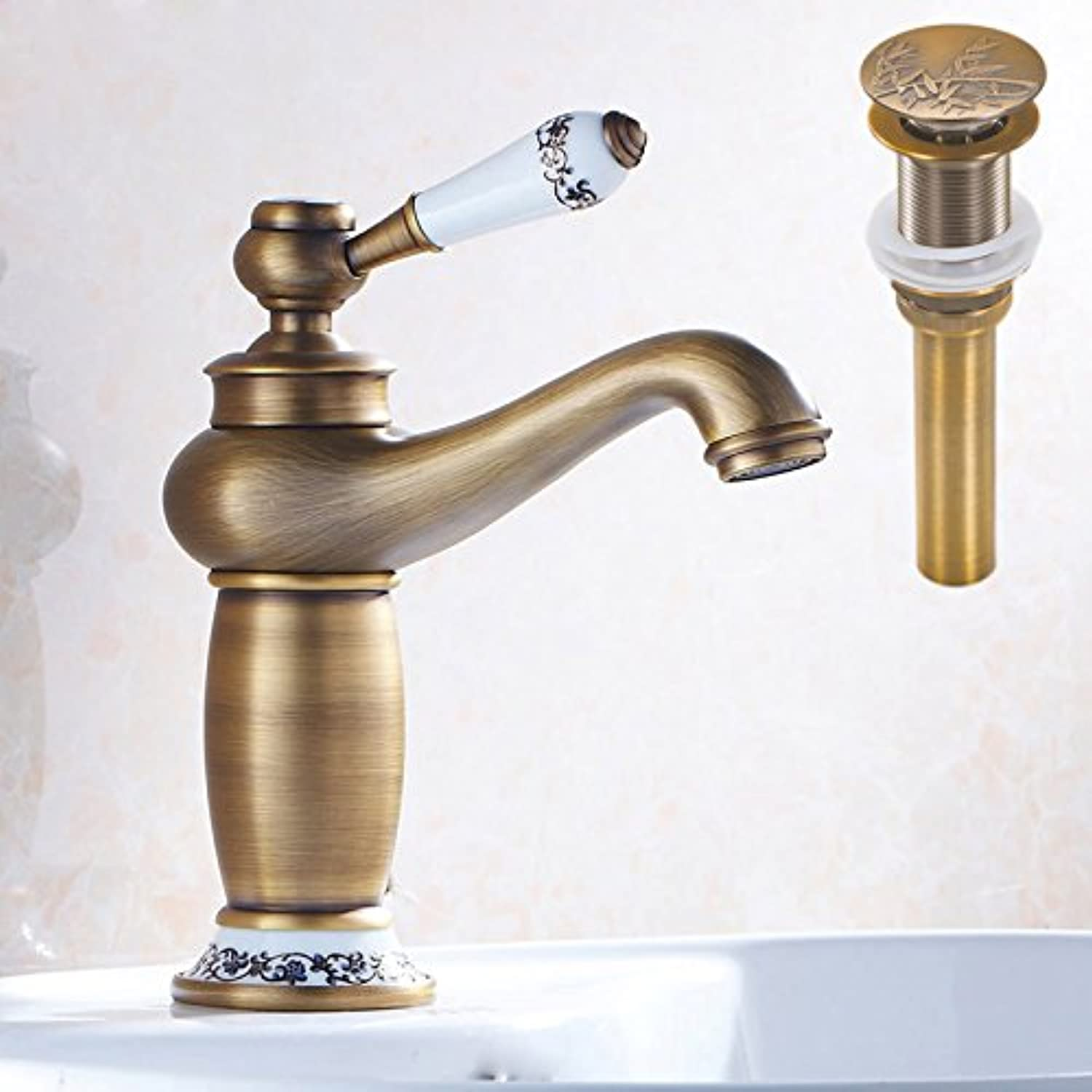 U-Enjoy Single Lever Bathroom Top Quality Vessel Sink Mixer Taps Deck Mounted Brass Water Faucet with Sink Pop Up Drain (Red)