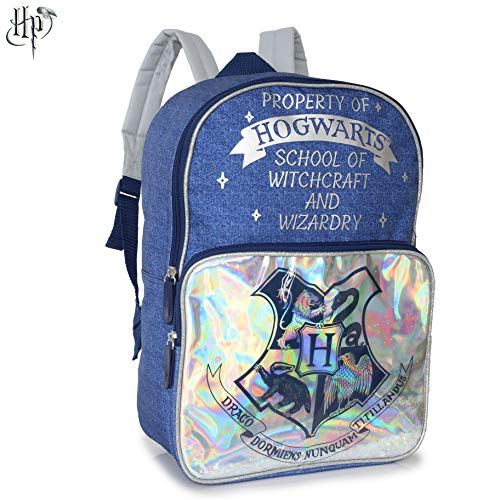 Harry-Potter-Bag-Ladies-Large-Blue-and-Silver-Hogwarts-Backpacks-For-Women-Teenager-Children-With-Denim-Style-Print-Spacious-Rucksack-for-School-Work-Commute-Travel-Harry-Potter-Gifts-For-Her