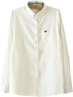 (ロンショップ)R.O.N shop 長袖 オックスフォード シャツ ブラウス 像 ワンポイント 刺繍 ボタンダウン きれいめ 上品 ホワイト 白 水色