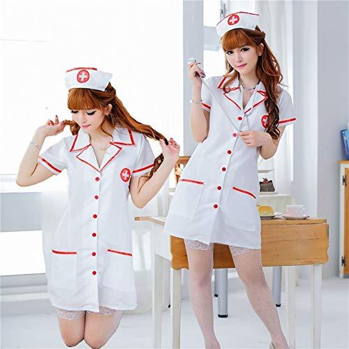NO LOGO XIAOWU-HUSHI, Sexy Krankenschwester Kostüme Set Frauen Teddy Dessous Sexy Hot Erotic Spiel Cosplay Krankenschwester Uniform V-Ausschnitt Babydoll Kleid Sexy Unterwäsche (Größe : L)