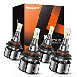 SEALIGHT 9005/HB3 High Beam 9006/HB4 Low Beam Combo LED Headlight Bulbs, 16000 Lumens, 6000K Xenon White, Pack of 4