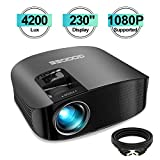 Projector, GooDee Upgrade HD Video Projector 4200L Outdoor Movie Projector, 230' Home Theater Projector Support 1080P, Compatible with Fire TV Stick, PS4, HDMI, VGA, AV and USB