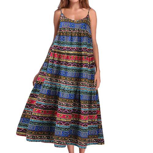 LOPILY Kleid Damen Leinenkleid BH Spaghetti Trägerkleid Hippie Strandkleid für Urlaub Boho Pissee Maxikleid Lang Sommer Elegant Rockabilly Kleid Freizeit Lose Lässiges Kleid Damen (Blau, 38)