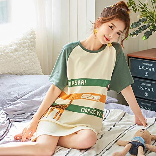 Pijama De,Camisón para Mujerdibujos Animados Jirafa Animal Estampado Suave Manga CortaCamisón, Rayas Verdes Casual Ropa De Dormir Chemises Lencería De Verano Ropa De Dormir